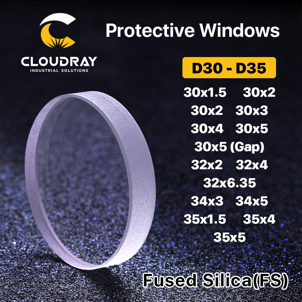 Cloudray laserkaitsvad aknad D30 - D35 seeria kvartsiga sulatatud ränidioksiid kiudlaseriga 1064nm Precitec Raytools WSX