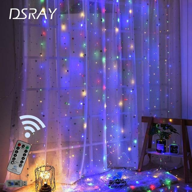 LED الستار مصباح جارلاند الأبيض إضاءة بسلك نحاسي التحكم عن بعد USB الجنية ستار مصابيح جارلاند نوم عيد الميلاد ضوء في الهواء الطلق