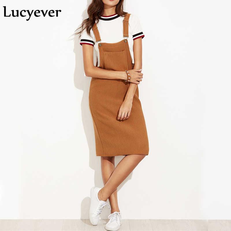 Lucyeever Gaun Midi Wanita Elastis Vintage Gaun Wanita Suspender Tali Musim Semi Musim Gugur Gaun Kasual Saku Hitam Tanpa Lengan Vestido 2021