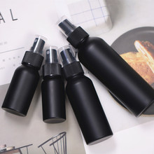 Recipiente de empacotamento cosmético da garrafa vazia de alumínio preta do curso portátil de 30ml 50ml 100ml 150ml