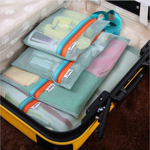 4Pc Travel Storage Bag Set Portable Suitcase Mesh Bag Closet Clothes Underwear Organizer Pouch Toiletry Handbag Cosmetic Divider(China)
