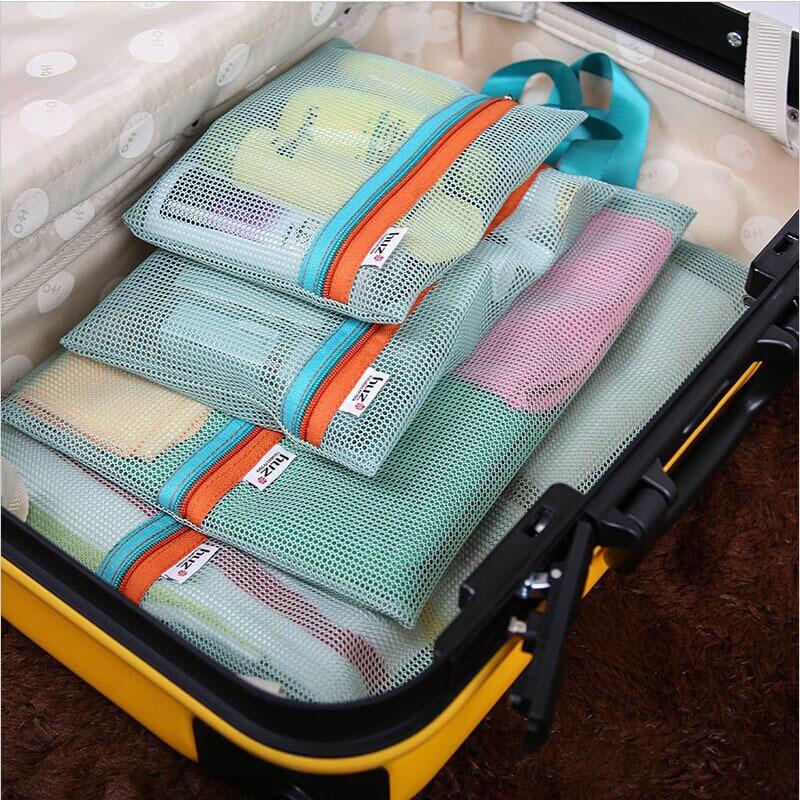 4Pc Travel Storage Bag Set Portable Suitcase Mesh Bag Closet Clothes Underwear Organizer Pouch Toiletry Handbag Cosmetic Divider