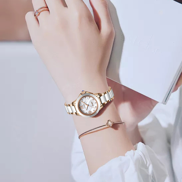 SUNKTA Fashion Women Watches Casual Ceramics Quartz Clock Waterproof