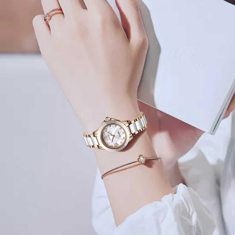 SUNKTA moda kobiety zegarki bransoletka damska zegarek Casual ceramika zegarki kwarcowe zegar wodoodporny zegarek Relogio Feminino