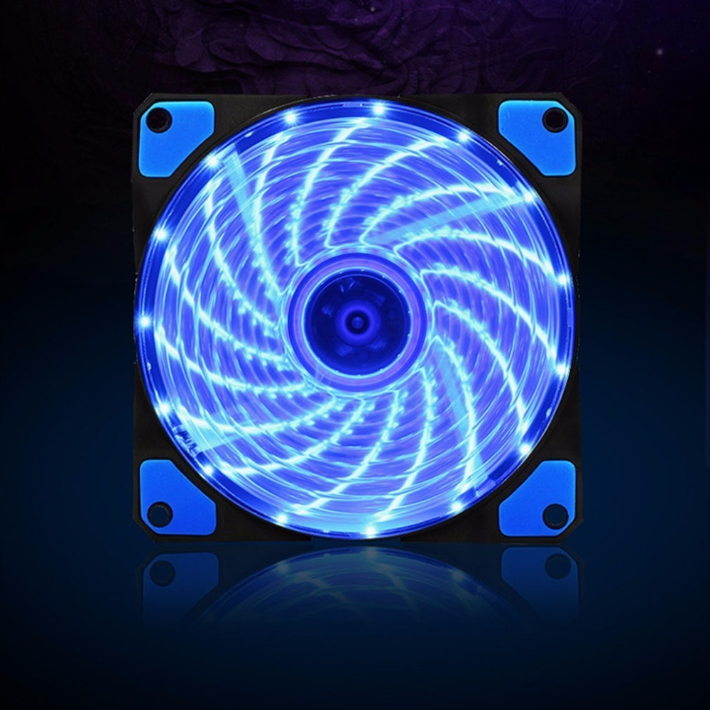 <font><b>120mm</b></font> 15 LED Ultra <font><b>Silent</b></font> Computer PC Case <font><b>Cooling</b></font> <font><b>Fan</b></font> CPU Cooler 12V With Rubber Quiet Molex Connector 3/4Pin Plug <font><b>Fans</b></font> Cooler image