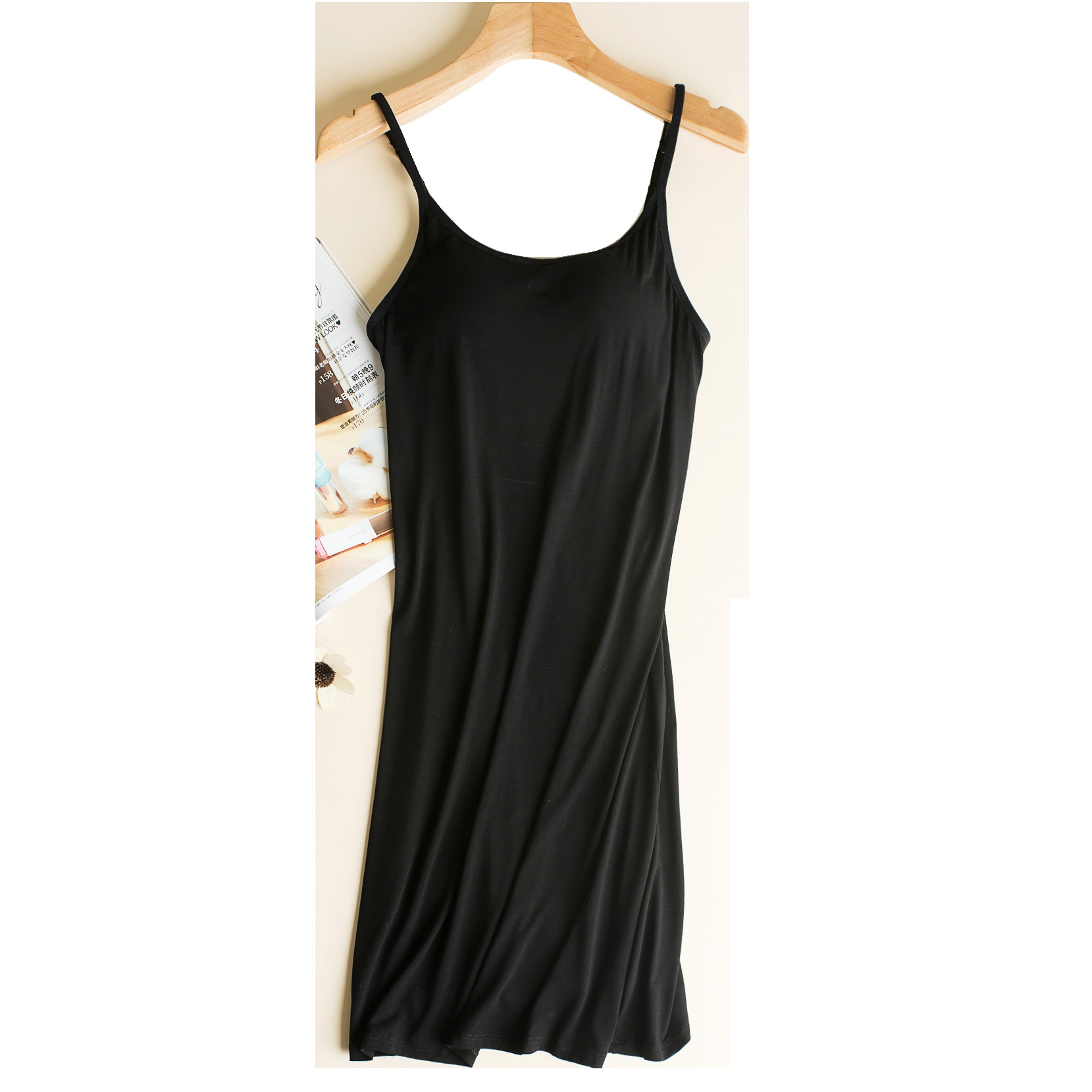 White Round Neck Camisole Back Household Comfortable Mid-length With Chest Pad Dress Nightgown Nursing Wear Free Underwear Sprin