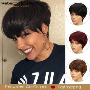 Rebecca Short Cut Straight Hair Wig Peruvian Remy Human Hair Full Wigs For Black Women Brown Red Color Cheap Hair With Bangs Wig(China)