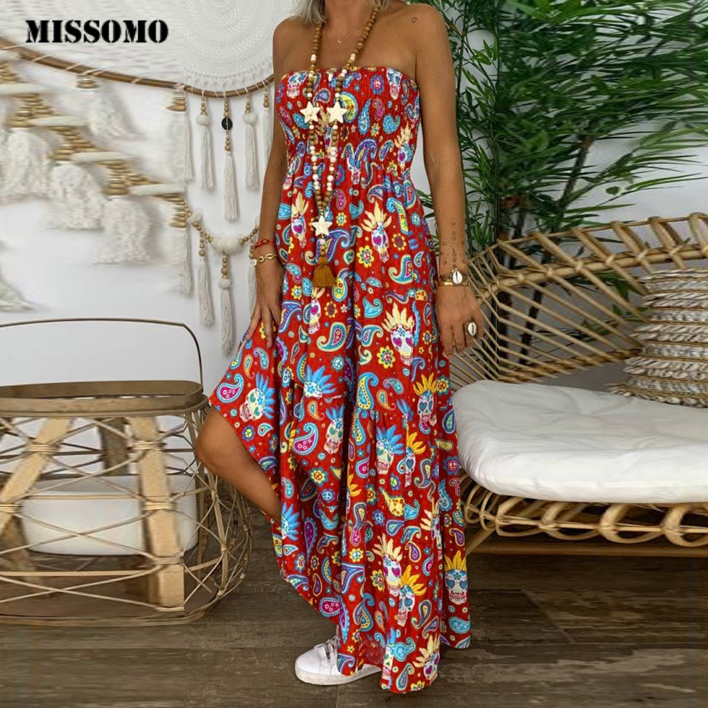 MISSOMO Dresses Women Plus Size Summer Dress 2019 Vestidos Boho Print Maxi Dress Strapless Long Dress Vintage Robe Female 815