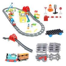 Transporte ferroviário tamanho grande blocos de construção criativo acessórios pista montar brinquedos para crianças tijolos compatível duplos trem conjunto