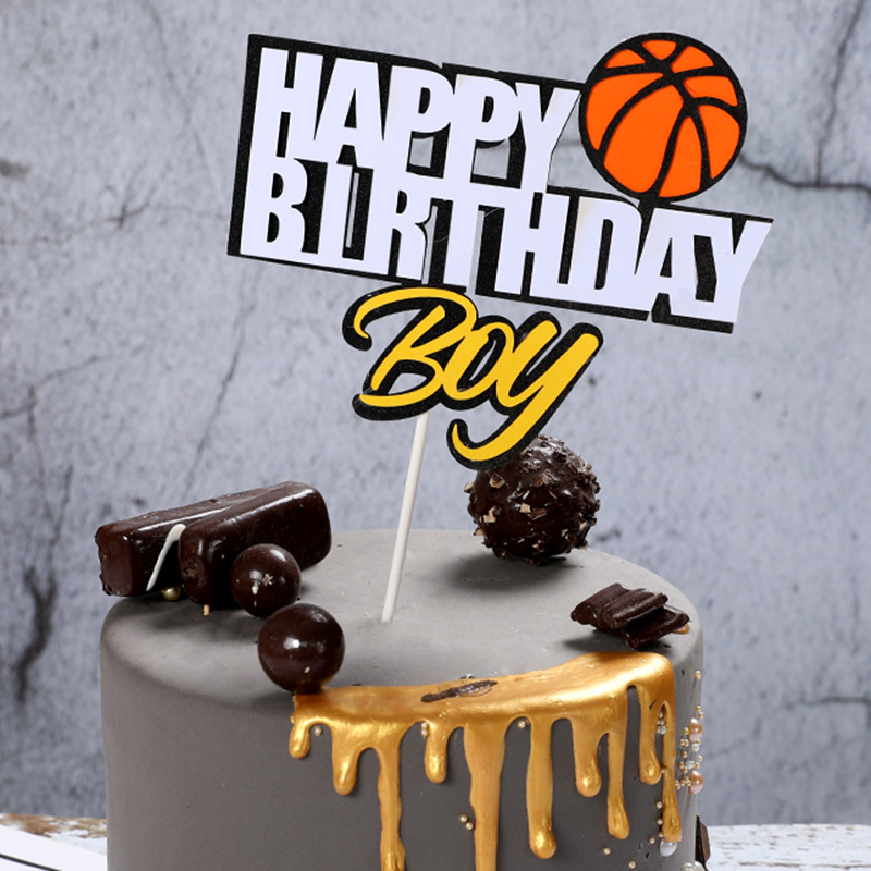 Cake Toppers Glitter DIY Basketball Football Set Cupcake Topper Cake Flags Kids Boys Birthday Wedding Bride Party Baking Decor-3