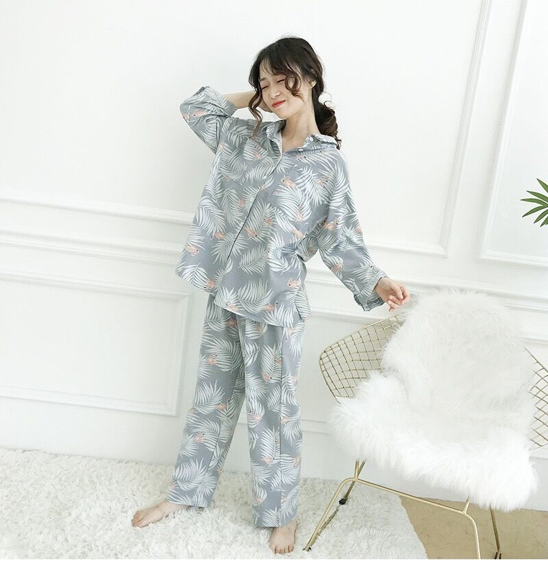 Image 4 - Womens Pajamas Sets Autumn Cotton Flamingo Lapel Top + Long Pant 2 Piece Sets Pajamas Set For Women Sleepwear Girls Pyjamas SuitPajama Sets   -