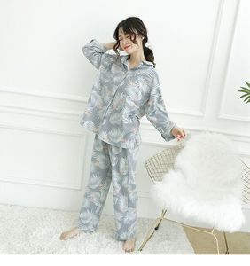 Image 4 - Womens Pajamas Sets Autumn Cotton Flamingo Lapel Top + Long Pant 2 Piece Sets Pajamas Set For Women Sleepwear Girls Pyjamas Suit