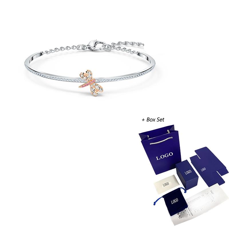 2020 SWA new ETERNAL FLOWER bracelet dragonfly shape dragonfly pavé zircon white gold bracelet female fashion romantic gift