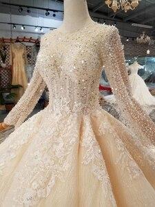 Image 4 - BGW HT43021 robe de mariée en cristal à la main Champagne col rond à manches longues Corset lacets dos robe de mariée avec longue mode de Train