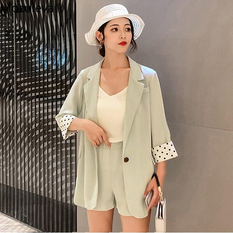 Mozuleva Women Short Suits Dots One-button Blazer Jacket & Elastic Waist Shorts Female Pant suits Casual Women 2 Pieces Set