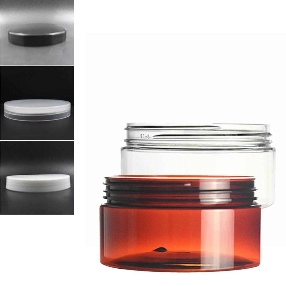 200ml Clear/amber Round Pet Jar Bottle Container With Plastic Cap Lids For Cosmetic,food, Packaging,