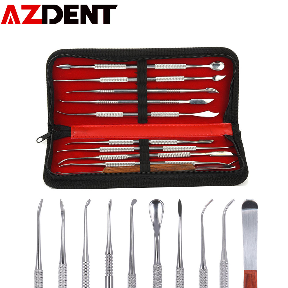 1 Set  Wax Carving Tool Stainless Steel Dental Sculpture Instrument Versatile Kit For Dental Lab Equipment With PU Holder Case