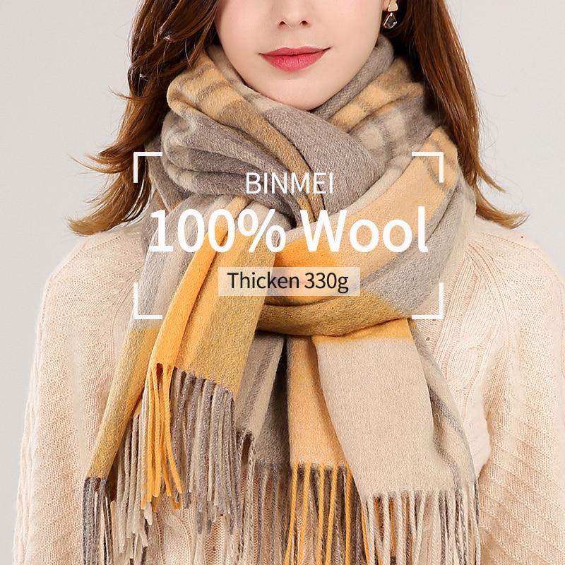 Winter Plaid 100% Lamb Wool Scarf Women Thicken Warm Shawls,Wraps Ladies Echarpe Pashmina with Tassel Cashmere Scarves Foulard