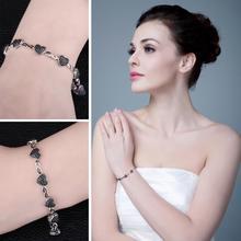Natural Black Spinel Hearts Sterling Silver Bracelet Jewelry