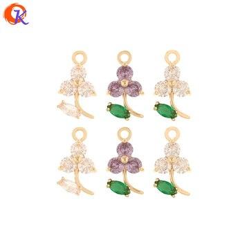 Diseño Cordial 50 Uds. 9*17MM accesorios de joyería/CZ encantos/hecho a mano/forma de flor/colgante para collar/piezas DIY/pendientes hallazgos