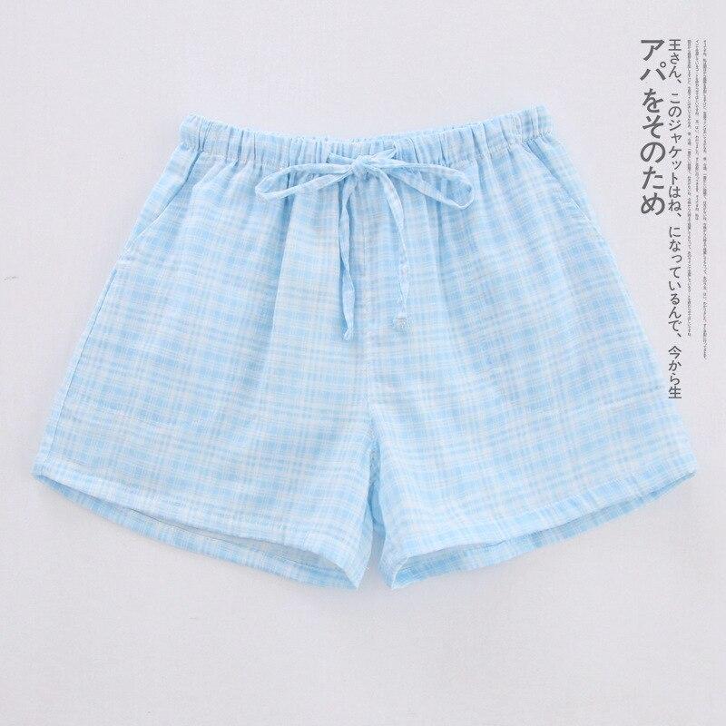 Летние женские Пижамные шорты, хлопковые газовые пижамы, штаны с принтом, штаны для сна, одежда для сна, женская одежда для сна - Цвет: Tricolor blue
