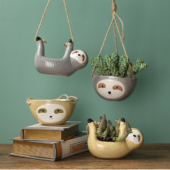 Nordic Wall Hanging Ceramic Sloth Pot Bathroom Bedroom Departments Dining Room Entryway Living Room Planters Rooms
