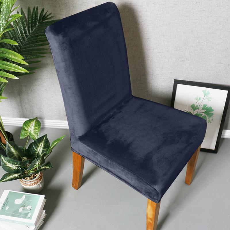 Velvet Elastic Chair Cover Solid Color Dining Chair Slipcover Modern Removable Anti-dirty Home Office Seat Stretch Chair Cover