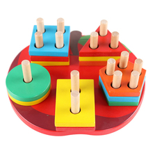 Wooden Children Baby Early Education Toy Apple Column Geometric Puzzle Board Shape/ Color Learning Building Blocks Toys