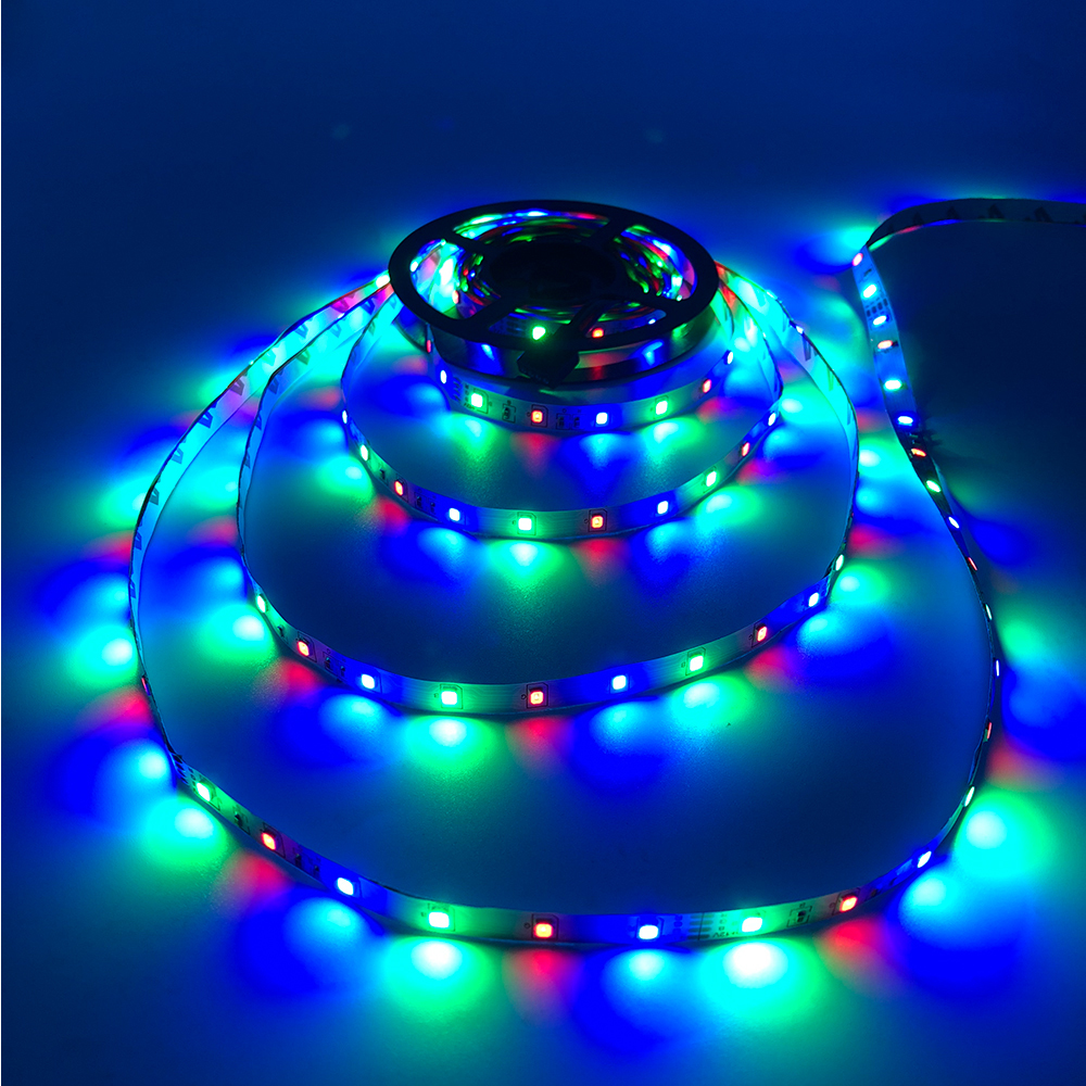 H39cc16facec24cf0ab39b1aa92b8824c5 - 5m 2835 3528 LED Strip Desk Lamp RGB White Red Green Blue Yellow 300Leds IR Remote Controller Holiday Light Night Garden Light