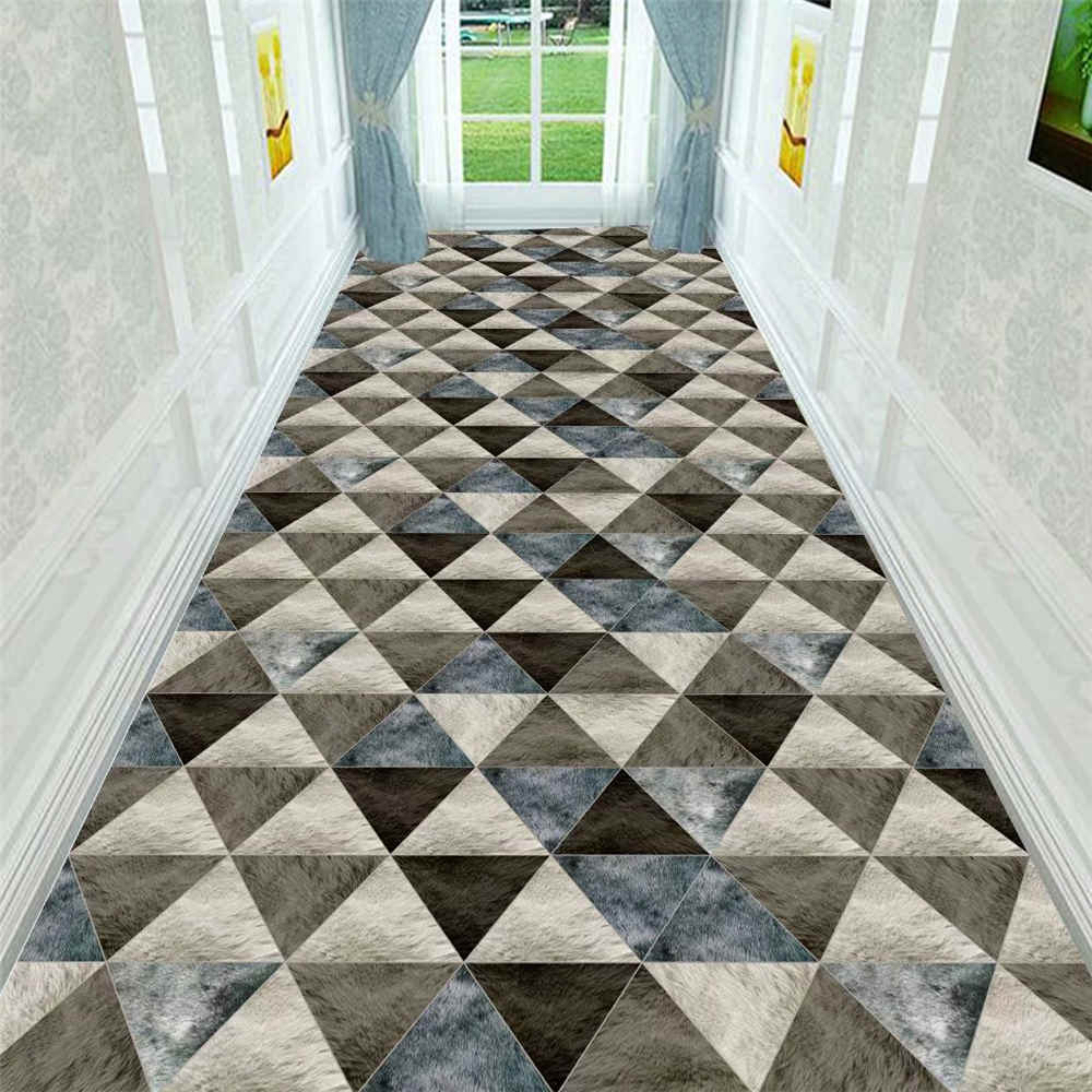 Modern Outdoor Geometric Rug Home Decorative Living Room Carpet Flannel Indoor Entrance Floor Mat Long Kitchen Corridor Area Rug