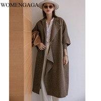 Korea Long Wool Winter Coat Women Plus Size Oversized Batwing Cape Coat Brown Blue Wool Peacoat Runway Wool Coat Fashion 90QE