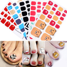Toe Nail Sticker Red Yellow Blue Mixed Colors Full Cover Waterproof Nail Sticker Wraps for Nail Art DIY Beauty Design Decoration(China)