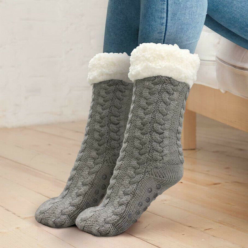 Winter Women Thick Cozy Fuzzy Sherpa Fleece-lined Thermal Non-Skid Slipper Socks Wool Cashmere Socks