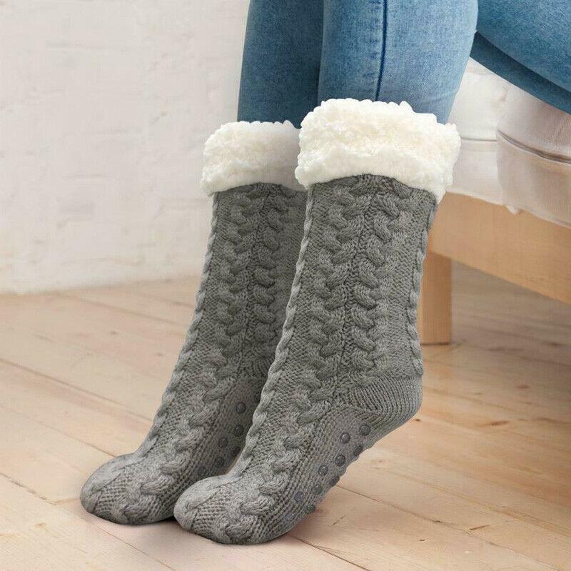 Winter Women Thick Cozy Fuzzy Sherpa Fleece-lined Thermal Non-Skid Slipper Socks Wool Cashmere Socks