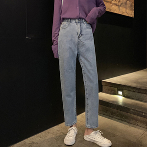 Image 4 - High Waist Jeans Women Streetwear Top Shop Novelty Personality Womens Denim Trousers Loose All Match Korean Fashion Simple Soft