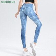 SHINBENE TIE DYE Naked Feel Running Fitness Scrunch Legging Women NO Camel Toe Stretchy Workout Gym Sport Tights Yoga Pants