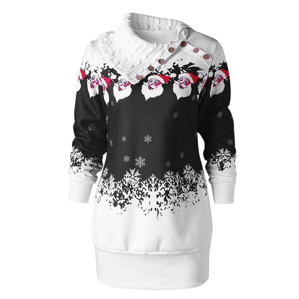 Winter Clothes Women Tops Christmas Santa Claus Snowflake Print Buttons Tunic Long Sweatshirt Tops Plus Size 5XL Tee Shirt Femme