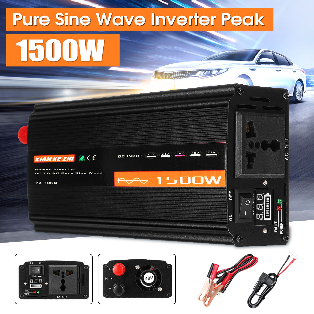 <font><b>Inverter</b></font> 12V 220V <font><b>1500W</b></font> Solar Pure Sine Wave DC12V/24V/48V To AC220V 50HZ Power Converter Booster For Car <font><b>Inverter</b></font> Household DIY image