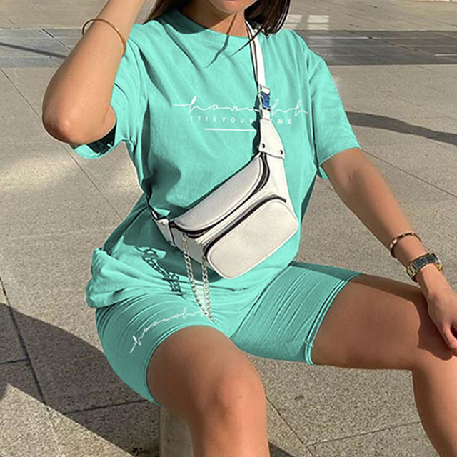 Letter Printed Biker Shorts 2 Piece Set Oversize Pullover Tshirt Jogger Short Sets For Women Summer Short Tracksuit Sexy Outfits