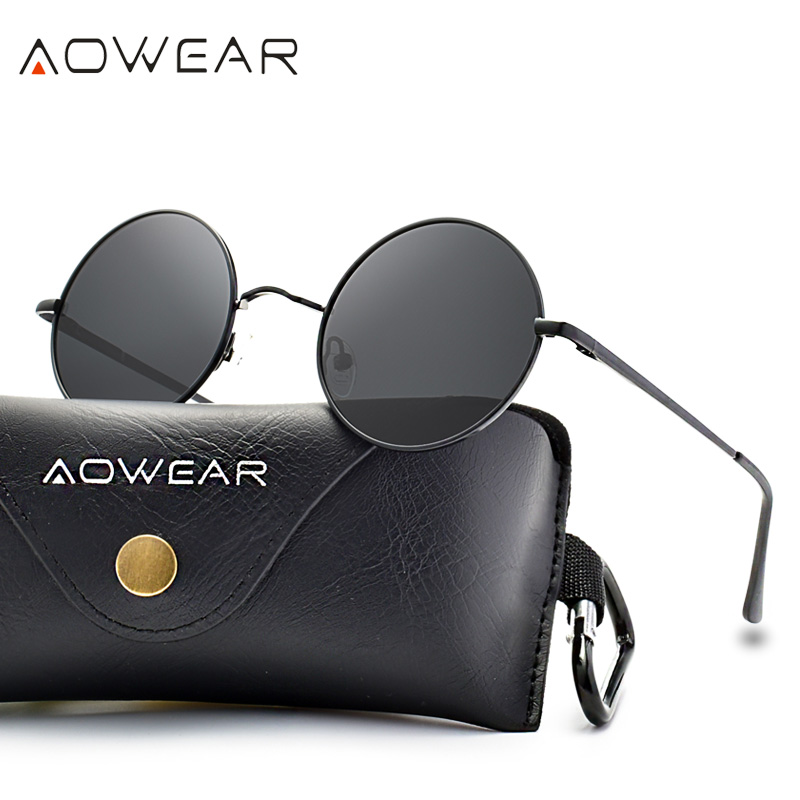 AOWEAR 2019 NEW Round Sunglasses Women Polarized Punk Sun Glasses Unisex Fashion Metal Frame TAC Lenses Eyewear for Men Woman