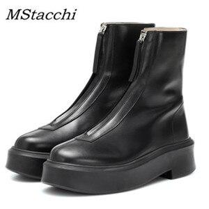 Mcacchi/Черные слипоны на платформе в стиле панк; Подиумные ботильоны для женщин; натуральная кожа; модная обувь на молнии спереди; Buty Damskie