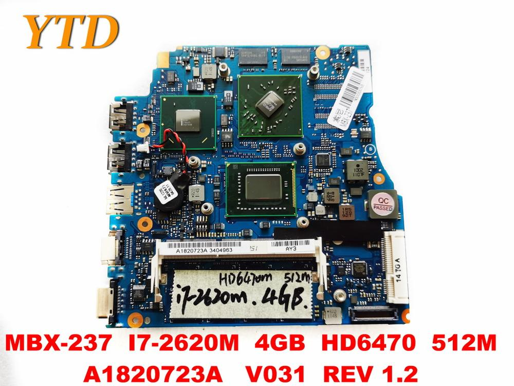 Original for SONY MBX-237 laptop motherboard MBX-237 <font><b>I7</b></font>-<font><b>2620M</b></font> 4GB HD6470 512M A1820723A V031 REV 1.2 tested good free image