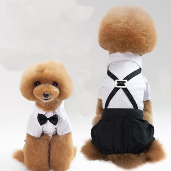 Pet Dog Cat Clothes Prince Tuxedo Bow Tie Suit Chihuahua Coat Handsome Pets Wedding Dress Jumpsuit S-XXL