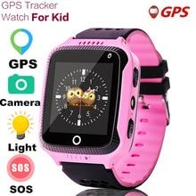 Q528 relógio smart gps infantil, smartwatch com lanterna, 1.44 polegadas, sos, chamada de localização, dispositivo rastreador para crianças relógios