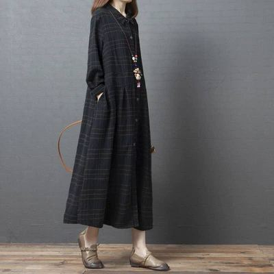 Uego Plaid Fashion Blouse Dress Long Sleeve New Autumn Dress Cotton Linen Loose Women Dress Plus Size Female Casual Spring Dress 2