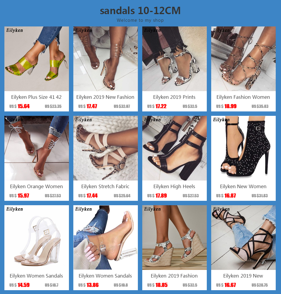 H39cd0cace4b74321bc2ceff7febce200X Eilyken Women Sandals Ankle Strap Perspex High Heels PVC Clear Crystal Concise Classic Buckle Strap High Quality Shoes size35-42