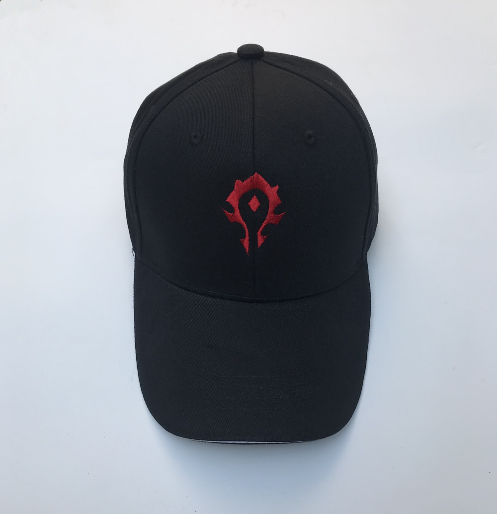 Vedio Game World Of Warcraft WOW Horde Red Symbol Cosplay Embroidery Hat Black Baseball Cap