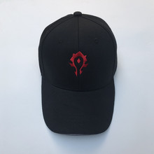 Vedio Game World of Warcraft WOW Horde Red Symbol Cosplay Embroidery Hat Black Baseball