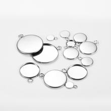 20pcs/lot 6 10 14 18 25mm Stainless Steel Cabochon Base Tray Bezels Blank Setting For Bracelet Pendant Jewelry Making Supplies