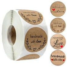 100-500 pces vintage kraft papel adesivos scrapbook presente papelaria etiqueta adesivos feitos à mão com amor obrigado para as etiquetas